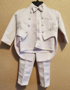 Boy Wedding Baptism Christening Formal Dress Suit Outfit 4 Pcs Size 3T