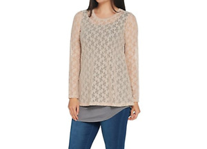 LOGO Layers by Lori Goldstein Stretch Lace Top Color Cappuccino Size XL
