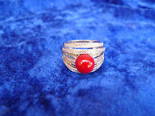 Beautiful Antique silver ring __ 925 __ with red stone (pearl) __