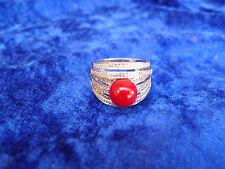 bella, vecchio Anello__Argento 925__con rossa Pietra (Perlina)__