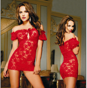 Women's Sexy Lace Off Shoulder Chemise + G-String Lingerie Clubwear Sleepwear