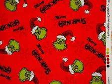 "DR SEUSS HOW THE GRINCH STOLE CHRISTMAS FABRIC QUILTING COTTON 11"" REMNANT SCRAP"