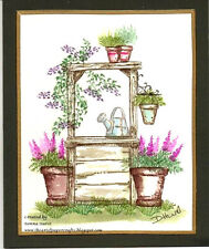 Watering Can RETIRED (U get photo #2 L@@k@examples Art Impressions Rubber Stamps