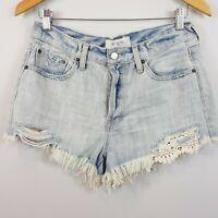FREE PEOPLE | Womens Daisy Chain Lace Cutoff Denim Shorts [ Size AU 10 / US 28 ]