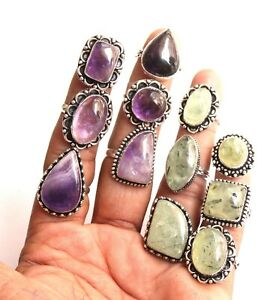 Amethyst & Prehnite Ring Handmade Ring 100 Pcs Lot Of Women rings Wholesale T&-4