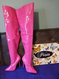 Seduce Hot Pink Patent Thigh High Boot Stiletto Heel  sz 8, very minor flaws