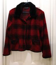 A la carte DARK Red and Black Plaid Jacket Fur Collar Outerwear Sweater EUC