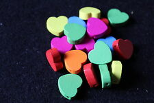 Wooden heart beads - jewellery making - childrens jewellery - novelty beads