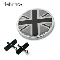 Front Grill Badge w/ Holder Grey Union Jack UK Flag For MINI Cooper R50 R55 F56