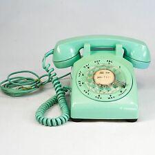 Rare Mid century retro aqua Bell System rotary desk telephone