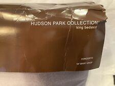 "Hudson Park Collection CONCERTO King Bedskirt 16"" skirt drop GRAY $170"