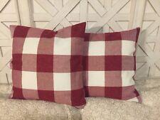 Set Of 2 Red Buffalo Check Pillow Covers Plaid Christmas Farmhouse 18x18