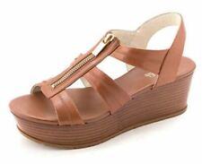 Women's MICHAEL Michael Kors BERKLEY MID Wedge Sandals Leather Luggage US 10