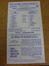 29/09/1973 Bury Reserves v Huddersfield Town Reserves [Small Single Sheet] (Ligh