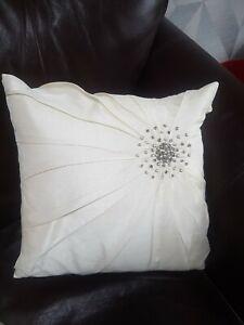 1 Laura Ashley Ivory cushion  Silk effect with beading detail 35cm x 35cm .