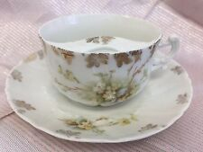 PORCELAIN GERMANY  MUSTACHE CUP MUG AND SAUCER YELLOW FLOWERS GILT