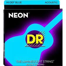 DR Strings NBA-12 Neon Hi-Def Coated Blue Medium Acoustic Guitar Strings 12-54