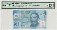 Mexico 20 Pesos 2013 Polymer PMG Certified Banknote UNC 67 EPQ Superb Gem