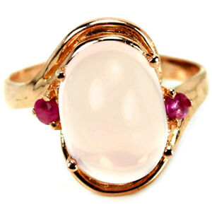 GENUINE AAA PINK ROSE QUARTZ & RED RUBY STERLING 925 SILVER RING SIZE 6.75