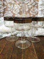 MCM Vtg Elegant Stemware Set of 4 Champagne Goblets W/ Wide Silver Rim
