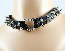 Gothic Punk Leather Choker  Necklace Heart Pendant Double Row Spikes Collar #45