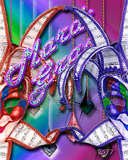 Mardi Gras poster new colorful blues and gems 16x20 inch