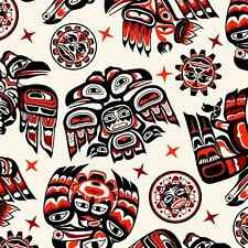 Fabric Native American Tribal Symbols Red Black White Cotton Elizabeth 1/4 yard