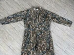 USA made MOSSY OAK vintage COVERALLS camouflage LARGE hunting 1pc chamois