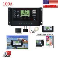 60A Solar Panel Regulator Charge Controller 12V-24V Dual USB Charger US Stock