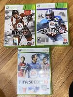 Xbox 360 Lot of 3 Sports Games NHL 13 FIFA SOCCER 10 Madden 25 NFL