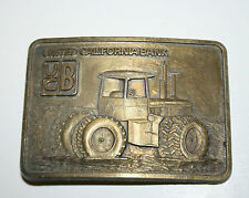 Vintage United California Bank UCB Tractor Farming Brass Belt Buckle Rare