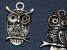 2 Silver Owl Pendant LOT Charms Jewelry Estate Sale Bird NR! vintage antique sty