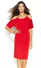 Michael Kors Red Dress Cold Shoulder Gold Tone Hardware NWT SZ Small  $120