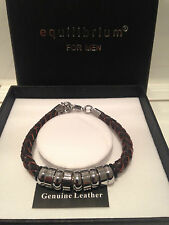 EQUILIBRIUM FOR MEN MENS BROWN LEATHER & STAINLESS STEEL BRACELET BOXED