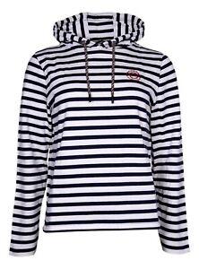 H.I.S Hoodie Sweatshirt Pullover mit Kapuze Damen blau weiß gestreift Gr. 36/38