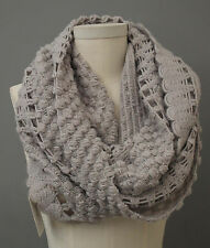 Y & S Los Angeles Brand Wrap Shawl Scarf Grey Knitted Loop Sold @ Anthropologie