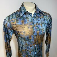 Vtg 60s 70s JCPENNEY Mens MEDIUM Ugly Print MOD Hippie Disco Stretch NYLON shirt