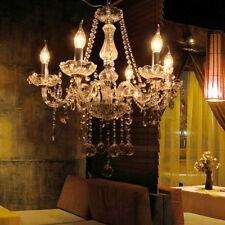 Lámpara Colgante de Techo Araña de Cristal Luz E14 Candelabro Cadena Salón Hotel
