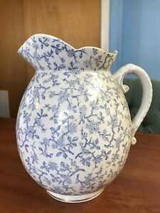"""Antique Water Pitcher B & M China 11"""" Tall - Bagshaw and Meir - Blue Flowers"""