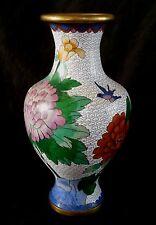 "Vintage Chinese white cloisonne vase 9.5"" tall"