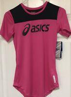 Asics Women's Gray Milah Hydrology Semi Fitted Reflective T-Shirt Size XS Pink