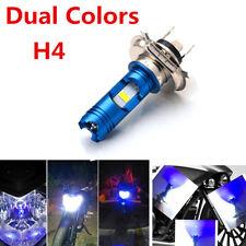 Motorcycle Headlight H4 hi/low beam 12V LED Headlamp COB Dual Colors White blue