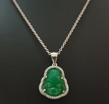 925 Sterling Silver Round Cz Luck Green Jade Buddha Pendant Charm Necklace