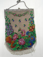 Rare Antique Micro Beaded Handbag Flowers Roses Scenic Purse Very Large Size
