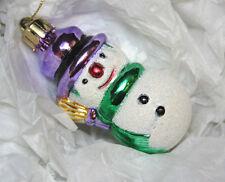 Snowman Christmas Ornament Glitter White Purple Green Gold Glass Tree Decoration