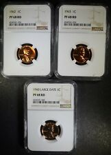 1960 LARGE DATE, 1962, & 63 LINCOLN CENTS, ALL NGC PF-68 RD Lot 59