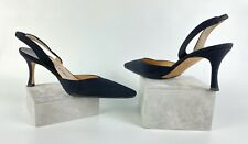 Manolo Blahnik New 6 US 36 EU Black Fabric Slingback Heels Shoes Runway Auth