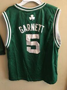Adidas Youth Lg 14 16 Kevin Garnett Jersey Boston Celtics #5 Green White NBA