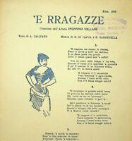 Spartito 'E RRAGAZZE musica E. Di Capua e S. Gabardella edizioni Bideri