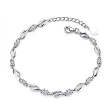 S925 Streling Silver Natural Crystal Chain Bracelet For Women Valentine's Day